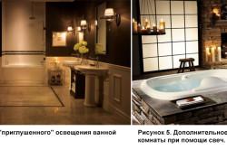 Примеры освещения ванной комнаты при помощи декоративных лампочек и свеч