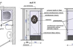Примеры схем душевых кабин и стекла для них: с 1-й  и 2-мя распашными дверьми