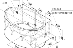 Схема установки овальной гидромассажной ванны