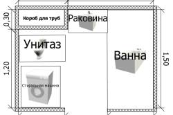 Чертеж планировки ванной комнаты
