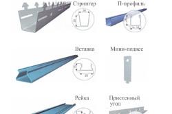 Элементы конструкции реечного потолка