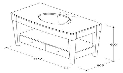 Примерная схема и размеры тумбы для установки раковины