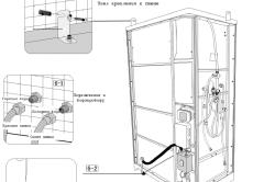 Схема установки и герметизации душевой кабины
