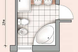 Планировка ванной комнаты с биде, душем и дополнительным умывальником
