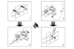 Схема крепления смесителя к стене