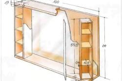 Чертеж навесного шкафчика с зеркалом в ванной