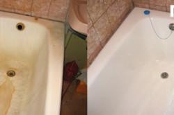 Пример ванны до и после нанесения жидкого акрила