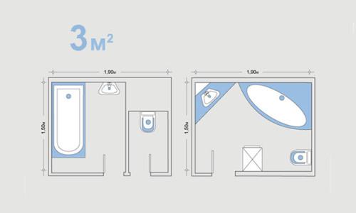 Проект ванной с площадью 3 квадратных метра