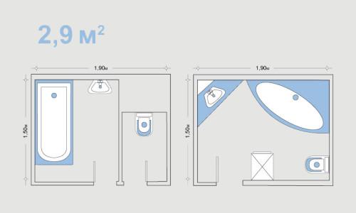 Схема планировки ванной и туалета