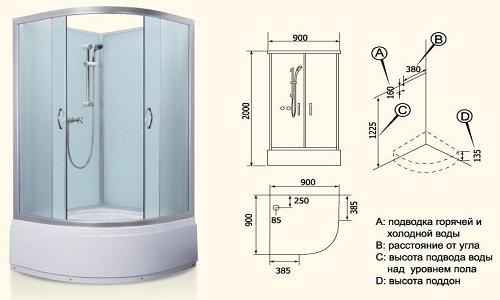 Схема устройства душевой кабины