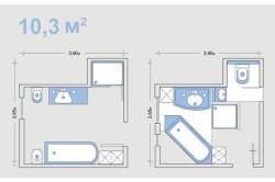 Варианты планировки ванной  с метражом 10.3 м²