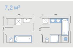 Варианты планировки ванной с метражом 7.2 м²