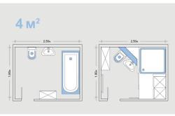 Варианты планировки ванной с метражом 4 м²