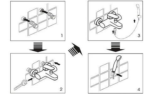 Схема монтажа смесителя для ванной