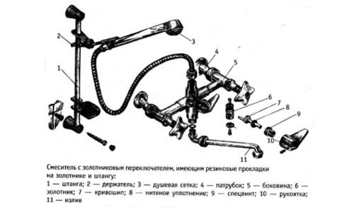 Схема смесителя с золотниковым переключателем