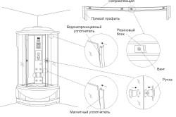 Схема установки двери душевой кабины