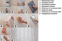 Этапы укладки мозаичной плитки в ванной