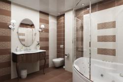 Глянцевый потолок с подсветкой в ванной комнате