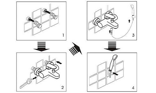 Схема монтажа смесителя к стене