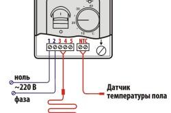 Монтаж терморегулятора с датчиком температуры