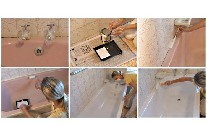 Этапы эмалировки ванны: нанесение краски