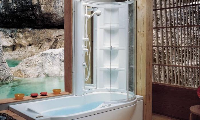 Душевая кабина над ванной