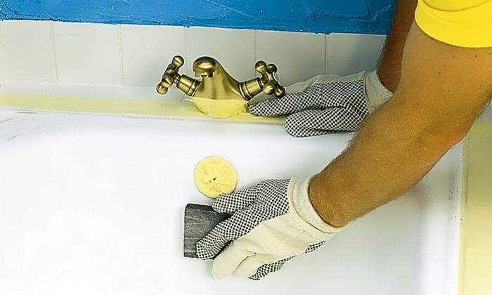 Шлифовка и обезжиривание ванны