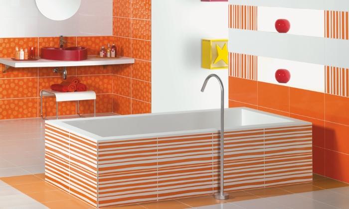 Использование в ванной комнате ярких цветов