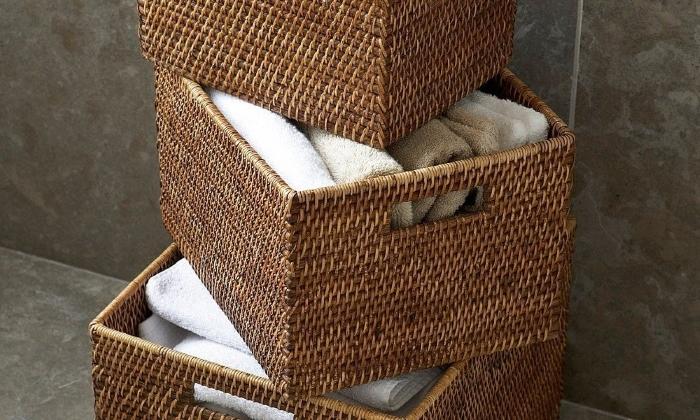 Плетеные корзинки для ванной
