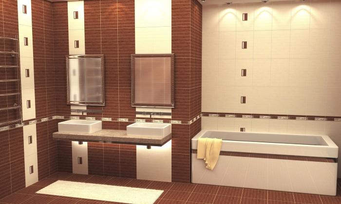 Ванная, отделанная плиткой