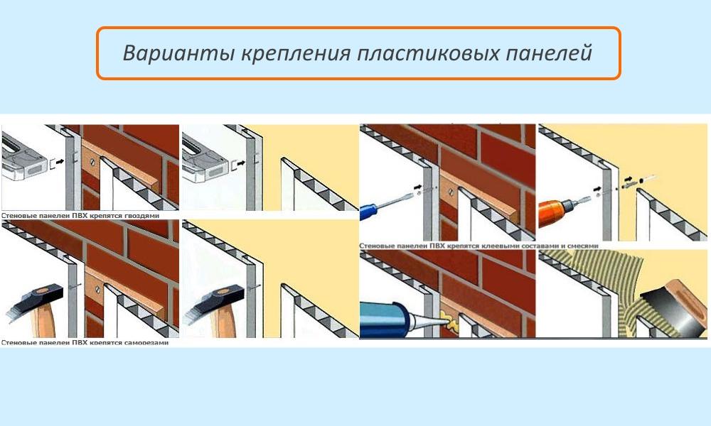 Варианты крепления ПВХ панелей