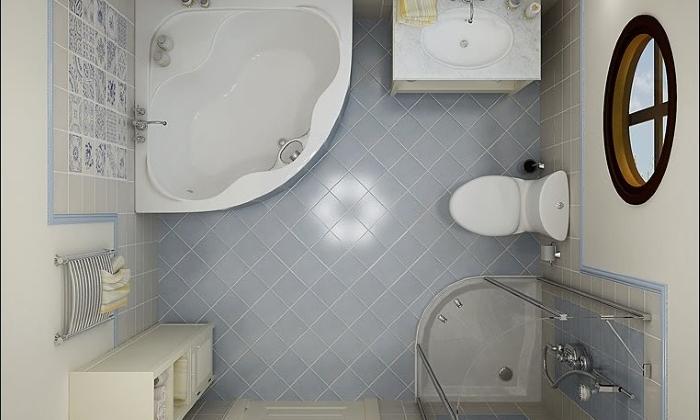 Экономия пространства за счет угловой ванны