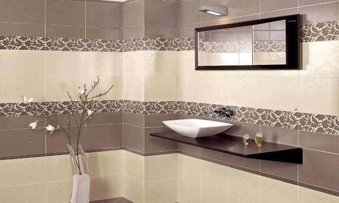 Дизайн ванной керамической плиткой