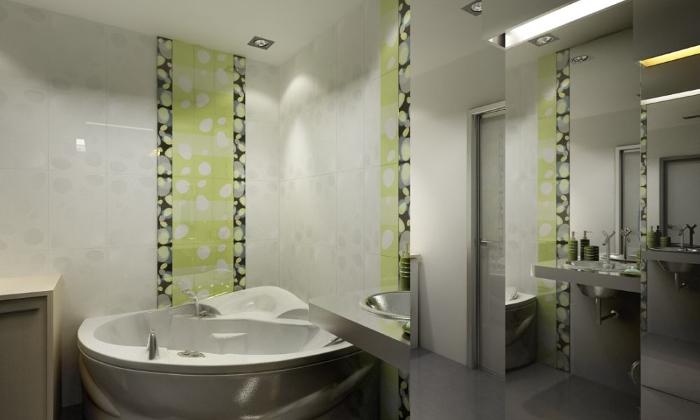 Вертикальные линии в интерьере ванной