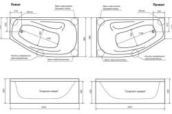 Техническая схема акриловой ванны