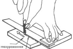 Схема резки кафельной плитки при помощи стеклореза