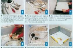 Этапы установки металлического поддона