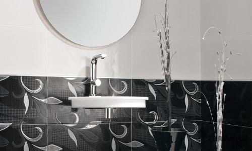 Зональное расположение плитки в ванной