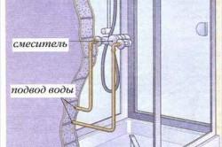 Схема установки душевого поддона с настенным смесителем