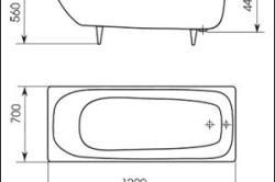 Схема стандартных размеров типовой ванны