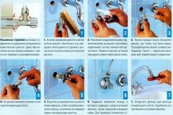 Схема установки смесителя в ванной комнате