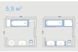 Варианты планировки ванной с метражом 5.9 м²