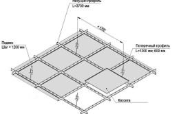 Схема монтажа плиточного потолка
