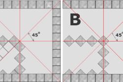 Схема размещения плитки по диагонали от центра