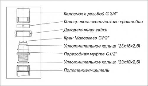 Схема сборки крана Маевского