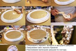 Этапы изготовления рамки для зеркала из ракушек