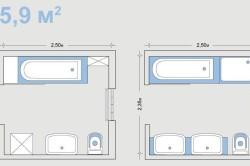 Варианты планировки ванной комнаты размером 5,9 кв.м