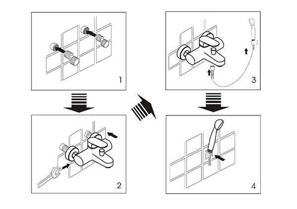 Схема установки смесителя в