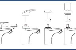Схема замены картриджа в шаровом смесителе