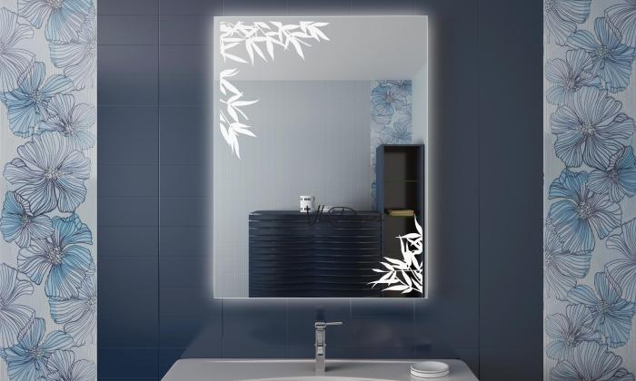 Роспись на зеркале в ванной
